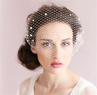 Wholesale Vintage Headdresses - Vintage Wedding Bridal White Birdcage Veil Face Net Pearl Beaded Fascinator Comb Headdress Hair Accessories Headband Headdress Face Veils