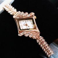 Wholesale Red Hour Glass Dress - Rose Gold Leaf Buds Strap Metal Ladies Dress Watch Stylish Women Bracelet Watches Hours Quartz Wristwatches Relogio Feminino