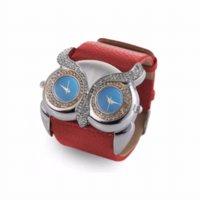 Wholesale Dual Owl - New Design fashion women watch PU Leather Rhinestone Owl Double Dual Dial 30M Waterproof Sport Watch N20