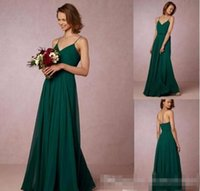 Billig 2017 Dark Green Flow Chiffon Brautjungfer Kleider Spaghetti Straps Bohemian Maid Of Honor Kleider Für Land Urlaub Abendkleid BA4350
