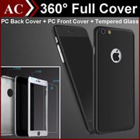 iphone 5s задняя стеклянная сумка оптовых-360-градусный корпус для iPhone 7 5 5S 6 6 S плюс S6, задняя крышка из закаленного стекла, защитная пленка для экрана розничной торговли