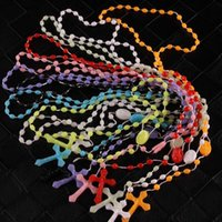 Wholesale Rosary Necklace Plastic - wood GOD men women religious rosary Necklace plastic rosary Religious jewelry cross necklace night lumious necklace