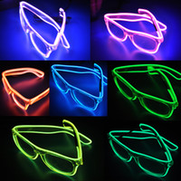 Wholesale Latex Fashions For Kids - LED Party Lighting Glasses Fashion EL Wire led neon glasses for Xmas Birthday Halloween neon party Bar Costume decor supplies
