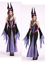 Wholesale Sexy Halloween Witch Hat - 2016 Halloween Witches Cosplay Costume Sets For Women Sexy V Neck Spaghetti Straps Backless Maxi Dresses With Hat Stand Collar Sleeves 2493