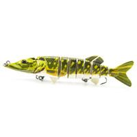 Wholesale Deep Diving Saltwater Lure - Big Fishing lure 8 segments lures 12.7cm 19g ABS Plastic Color Emulation Multi-section Deep Diving crankbaits