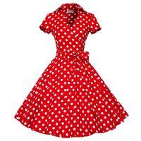 Wholesale Big Polka Dot Women Dress - 50S 60S Audrey Hepburn Dress 2015 New Women Long Sleeve Polka Dot Bowknot Big Swing Dress Retro Vintage Rockabilly Mini Dress