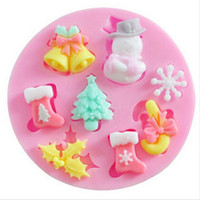 Wholesale Trees Fondant Decorations - Mini Silicone Christmas Fondant Mold Santa Claus Snowman Christmas Tree Snow Cake Decoration Baking DIY Chocolate Biscuit Mold FREESHIPPING