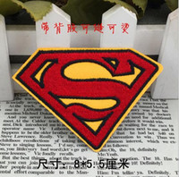 Wholesale Superman Patches - HOT SALE! 3.15 inch cloth Heat Transfer Superman Super man Embroidered Brands logo DIY Iron-on Patches Sew On Patch Applique Badge GP-024