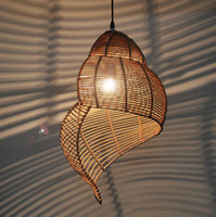 Wholesale Bamboo Pendant Lights - Bamboo weaving Ceiling lamp Wood Droplight Conch pendant lamp LED Pendant Light Bedroom Chandeliers LivingRoom Dining Room Corridor coffee