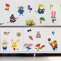 Wholesale Kids Fox Wall Decals - Cartoon Movie Zootopia wall Stickers Utopia Action Figure Pvc Nick Fox Judy Rabbit Home Decor Mural Decal Children Kids Gift hot