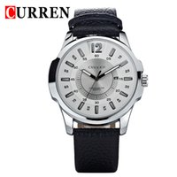 Wholesale 8123 Curren - CURREN new fashion casual quartz watch men large dial waterproof chronograph releather wrist watch relojes free shipping 8123