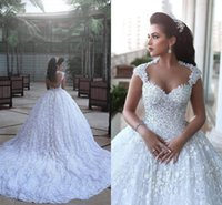 Wholesale Vintage Ball Gowns Sale - Robe de mariage New Ball Gown Wedding Dresses 2016 Illusion Neck Cap Sleeves Cathedral Train Appliques Lace Wedding Gowns Hot Sale BA3022