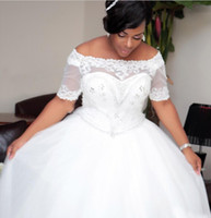 Wholesale African Hand Made Bead - Plus Size Wedding Dresses African Dubai Style Off The Shoulder Short Sleeves Wedding Gowns With Lace Appliques Lace Up Back Bridal Dress