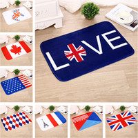 Wholesale 40 cm Flannel Carpets Australia USA UK Germany Canada Flag Series Bedroom Living room Kitchen Balcony Corridor Anti Skid Carpet WX P29