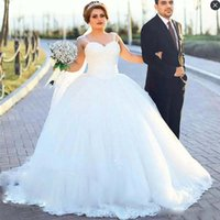 Wholesale Simple Elegant Cheap Ball Gowns - Elegant Plus Size Wedding Dresses Spaghetti Straps Lace Appliques Ball Gown Wedding Gowns Tulle Count Train Cheap Bridal Dress