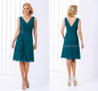 vestidos formales cortos verde azulado al por mayor-2020 Verde del trullo de la madre de la novia vestidos de Jasmine V del cortocircuito del cuello longitud de la rodilla gasa de fiesta de la boda vestido de fiesta formal de la tarde