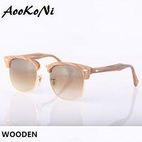 Wholesale Sunglass Wood - 2016 AOOKO Hot Sale Club wood Sunglasses Men Sun Glasses Women Outdoor Semi Rimless Retro Wooden Sunglass Gafas de sol 51mm with case