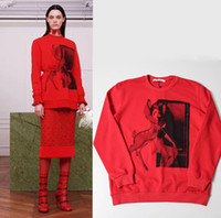 Wholesale Men S Sweater Deer - Paris Red Bambi Deer Sweatshirt Men Women Long Sleeve Winter ONeck Cotton Sweater Girls Street Pullovers Sports Hoodies