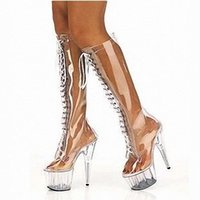 Wholesale Sex Boots Fashion - Customize New Arrival Summer Adore Clear Pvc Lace Up Stiletto Sex Knee High Platform Boots Extreme High Heel 15cm Heel With Platform D0148