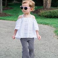 Wholesale Wholesale Bell Bottom Leggings - Kids Pants for Girls 2016 New Children's Clothes Fashion Bell Bell-Bottoms Stripe Girls Tassels Long Pants