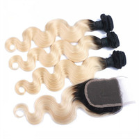 Wholesale Machine Attachments - Two Tone 1B 613 Hair Bundles With Lace Closure Body Wave Human Hair Weaves With Ombre Closure 1B Blonde Peruvian Hair Extensions