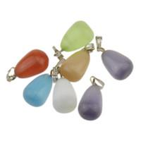 Wholesale Glass Bead Mixed Shapes - lots Mixed Millefiori lampwork murano Glass Beads Waterdrop Shaped Pendants Necklace Silver Plated Hook Glass Jewelry 4 styles u pick
