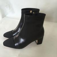 un cuero al por mayor-Fashionville * 34 u676 negro amarillento auténticas botas cortas de cuero mujeres de la moda de otoño