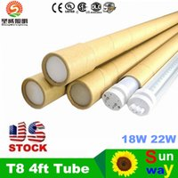 US Stock + T8 LED Tube Lights 4ft 22W SMD2835 AC85-265V Clear Milky Cover Cool White 6000K Гарантия 2 года