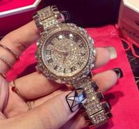 montre bracelet en cristal rond achat en gros de-Les femmes Bling bijoux plaqué montre ronde classique de dames de robe de bijoux, bracelet de charme en cristal fin
