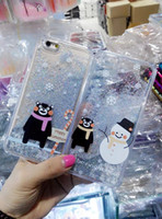 Case Téléphone Snowman Magical Quicksand Liquid Cartoon Pour Iphone 6 6S plus I6 5 5S Panda Teddy Bear dynamique plastique dur 10pcs Cover Bling