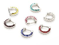 Wholesale Hinged Steel Ring - Septum Clicker Nose Rings CZ Gem or Plain Nose Piercing 316L Steel 1.6mm 14G Hinged Hot Unique Fashion Body Piercing Jewelry