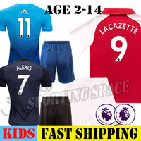 Wholesale Youth Soccer Uniform Jerseys - Kids ALEXANDRE LACAZETTE OZIL ALEXIS SANCHEZ Soccer Jerseys Kit 2017 2018 Children Football Set Shirts with Short Uniforms Youth Blue Third