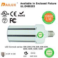 Wholesale Saving Energy Lamp Corn - SMD2835 80W LED Corn Light Bulbs 18W 27W 40W 100W 120W E27 E40 Energy-saving Lamp Parking Lot Lighting Street Lamp (Self Cooling Device)