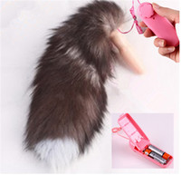 Wholesale Tail Vibrator Butt Plug - Sex Vibrating Fox Tail Anal Plug Silicone Butt Plug With Vibrator Adult Toys