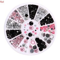 Wholesale Nail Decal Wheel - 12 2D Nail Art Decorations White Pink Grey Women Glitters Diy Rhinestones For Nails Tools Wheel Nail Decal Beads Black White Pink SV125321