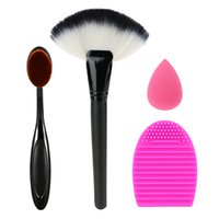 Wholesale Cosmetic Fan Brushes Wholesale - Brush Cleaning Tool Oral Makeup Brush Fan-shaped Brush Waterdrop-shape Powder Puff Makeup Set Cosmetic Kit Facial Makeup Tools W3016