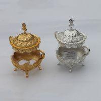 Wholesale Finish Coffee - Unique European Style Gold  Silver Finish Metal & Glass Salt Sugar Tea Coffee Jars, High Quality Tableware Dinnerware Home Decor