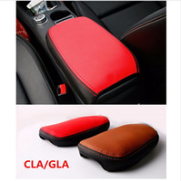 Wholesale Protection Box Cars - Genuine leather Car interior accessories Central Armrest Box Protection Sleeve decoration for Mercedes Benz GLA CLA A class