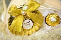 şeker düğün lehim kutuları gümüş toptan satış-Deniz Kabuğu düğün parti favor tutucu çikolata hediye şeker kutuları ile kelebek düğüm Düğün duş hediyeler Şekeri altın gümüş kırmızı renk