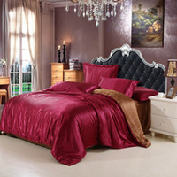 Wholesale Satin Sheet Set Free Shipping - wholesale Silk Satin luxury bedding sets queen size bed sheet  duvet cover   pillowcase 4pcs  set red burg color free shipping DHL