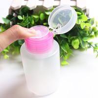 özlü yağ pompası toptan satış-150 ML Boş Şeffaf Pompa Dağıtıcı Parfüm Şişesi Konteyner Aseton Cila Sökücü Alkol Sıvı Uçucu Yağ Seyahat Için Şişe Nail Art