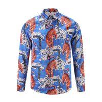 Wholesale Tiger Print Long Shirts Design - 2017 stylish Design 3D Tiger Embroidery Floral Print Mixture Colour luxury harajuku mens long sleeved shirts M-3XL medusa casual shirt