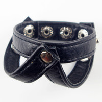 Wholesale Leather Strap Cock Ring - 20pcs lot Strap On PVC Leather Penis Extender Ring With Ball Harness Ball Stretcher Ring Delay Cock Ring Sex Toys For Men