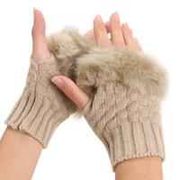 Wholesale fur arm warmers - Wholesale- 2017 Women Winter Faux Rabbit Fur Villi Gloves Arm Warmer Fingerless Wrist Gloves-Knitted Fur Trim Gloves Mitten Wrist Unisex