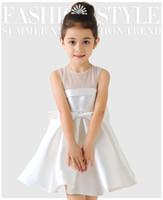 robes de noël modestes achat en gros de-En stock 2019 nouvelles filles européennes en mousseline de soie dentelle robe de soirée / fille de fleur sans manches courte robe de mariée / dans le magasin pour choisir plus de style