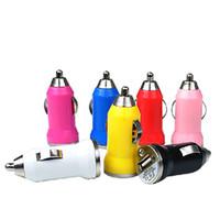 renkli şarj cihazları toptan satış-Iphone6 için USB Araç Şarj Renkli Bullet Mini Araba Şarj Taşınabilir Şarj Evrensel Adaptörü Iphone 5 5 S 200 Parça DHL Ücretsiz