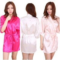Wholesale Satin Night Gowns For Women - 10 Colors Large Size Sexy Satin Night Robe Lace Bathrobe Perfect Wedding Bride Bridesmaid Robes Dressing Gown For Women LC412