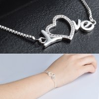 Wholesale Order Couple Bracelets - new fashion 925 Silver LOVE Charm Bracelet with Box Chain for Couples Gift (min order:2pcs)