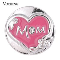 Wholesale Hand Painted Love - VOCHENG NOOSA Snap Charms Love Mom Blue Pink Hand Painted 18mm Button Jewelry Vn-1330