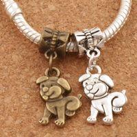 Wholesale Dog Charm Bead - Pet Dog Metal Big Hole Beads Dangle 100pcs lot Antique Silver Bronze Fit European Charm Bracelets Jewelry DIY B116 11.4x28mm